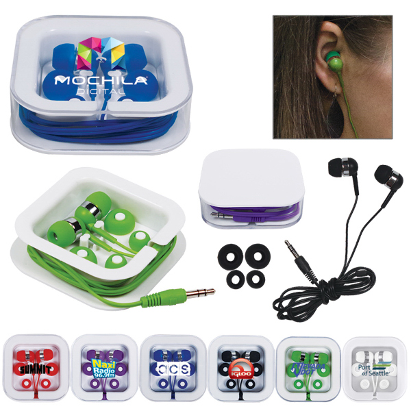 Earbuds in Square Case