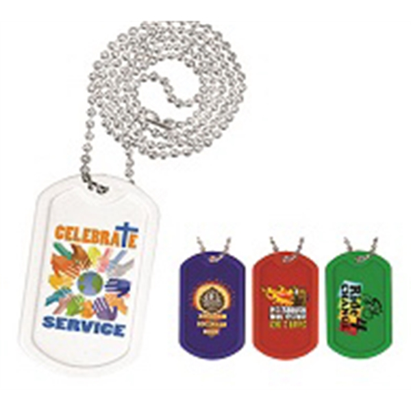 "Plastic Dog Tag, 23 1/2"" Ball Chain with Full Color Digital"