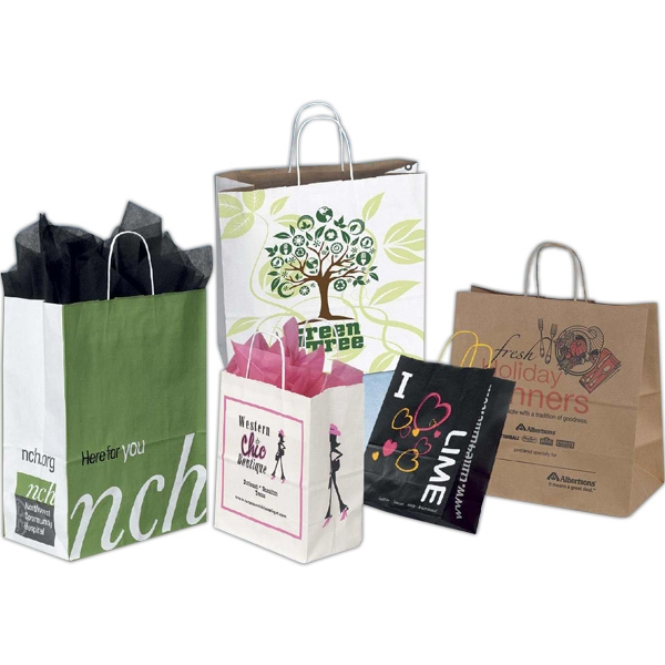 Custom Designed Shopping Bag in White or Brown Kraft