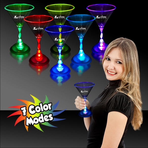 7 1/2 oz. Light Up MultiColor Glow LED Martini Glass