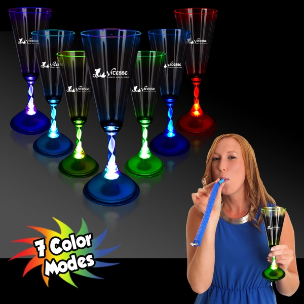 7 1/2 oz. LED Light Up Glow Champagne Glass with Frosted Bas