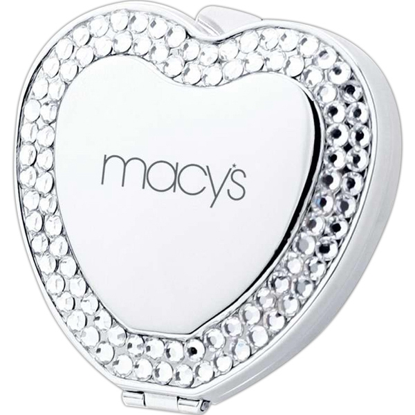 Heart compact mirror with crystal jewels