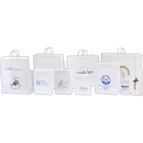 White Kraft Paper Shopping Bag - Printed