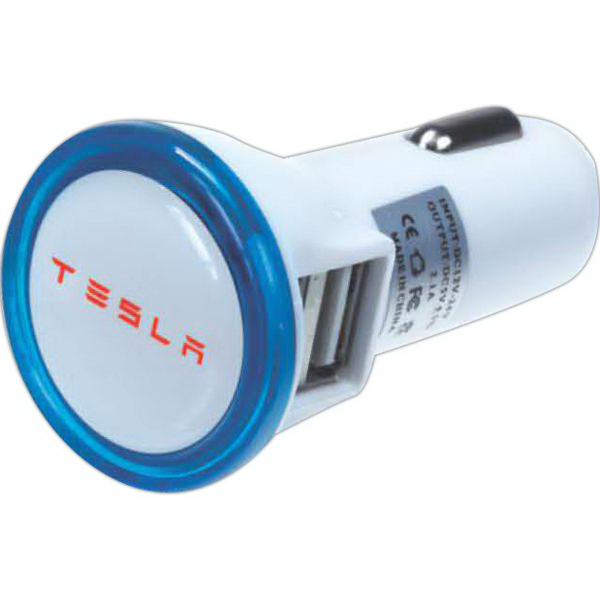USB Car charger adapter with light-up bezel