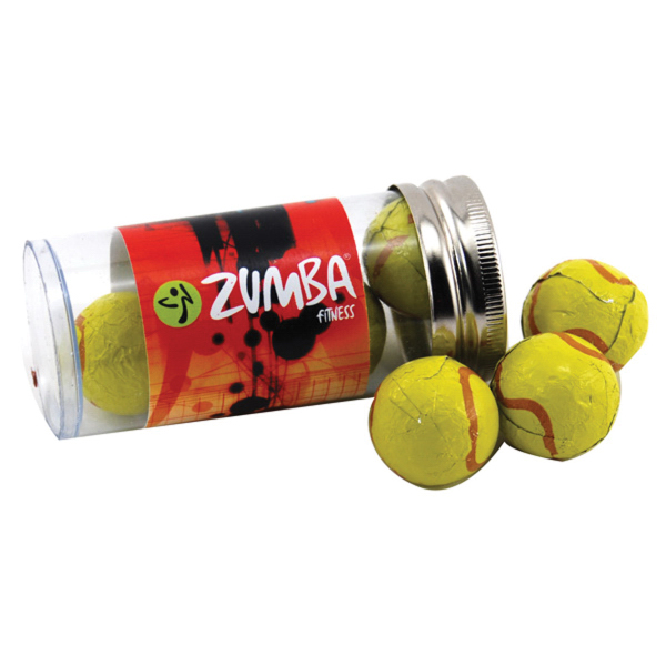 "Chocolate Tennis Balls in a 3 "" Plastic Tube with Metal Cap"