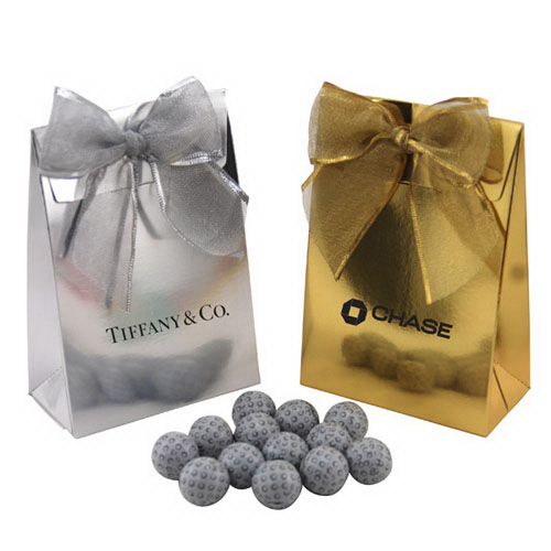 Chocolate Golf Balls  in a Stand Up Gift Box with Bow