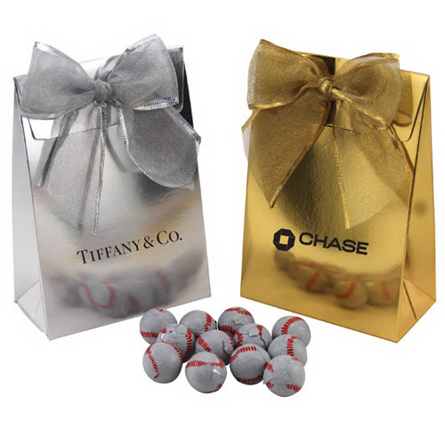Chocolate Baseballs  in a Stand Up Gift Box with Bow