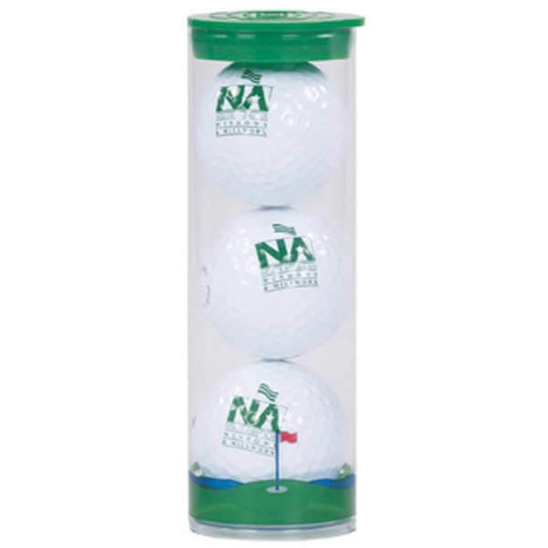 Clear Tube with 3 Golf balls