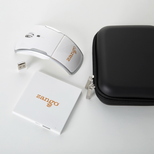 Slim square power bank and wireless mouse tech gift set