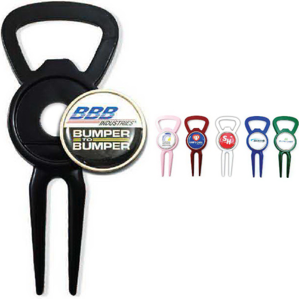 Ball Marker/Divot Tool with Bottle Opener