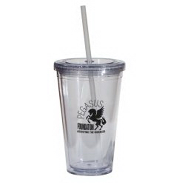 Double Wall 16 Oz Tumbler - Clear