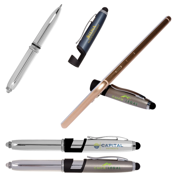 Multi Function Metal Stylus Pen Light & Phone Stand