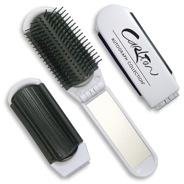 Compact Flip-Open Hairbrush with Mirror