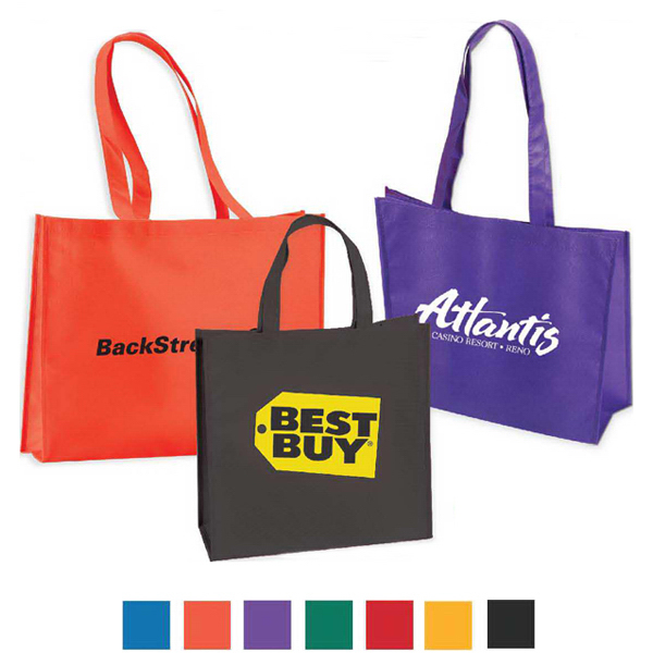 "Large Non Woven Tote With 28"" Straps- Full Color"