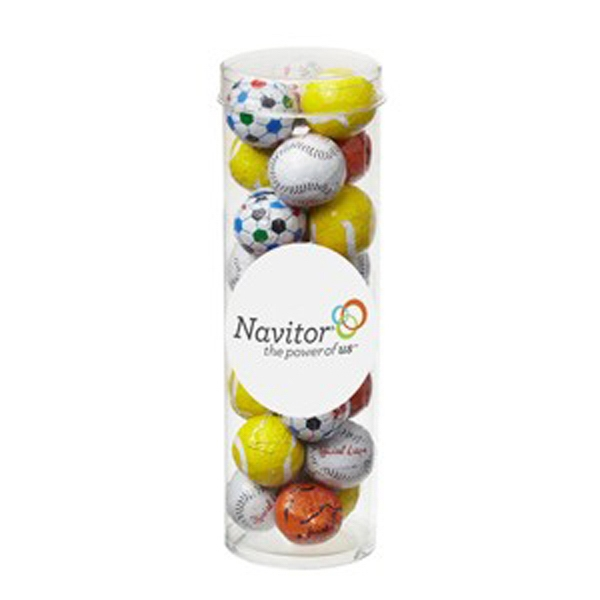 Small Tube with Clear Cap / Chocolate Sport Balls