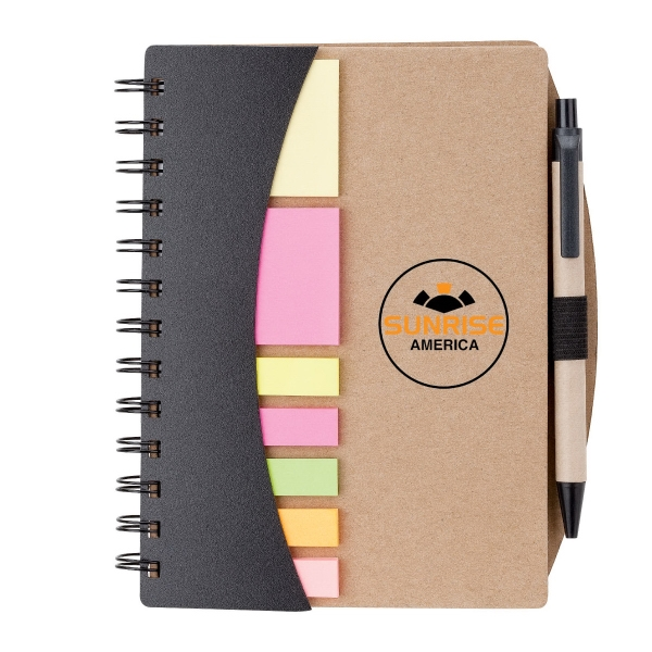Notebook with Pen, Flags & Sticky Notes