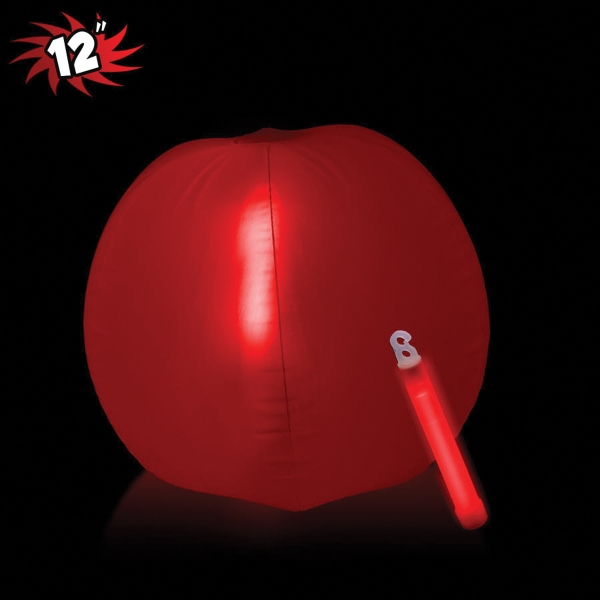 Translucent Red Beach Ball with Glow light Stick