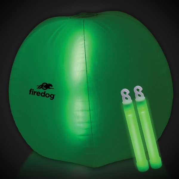 "Translucent Green 24"" Inflatable Beach Ball with Glow Stick"