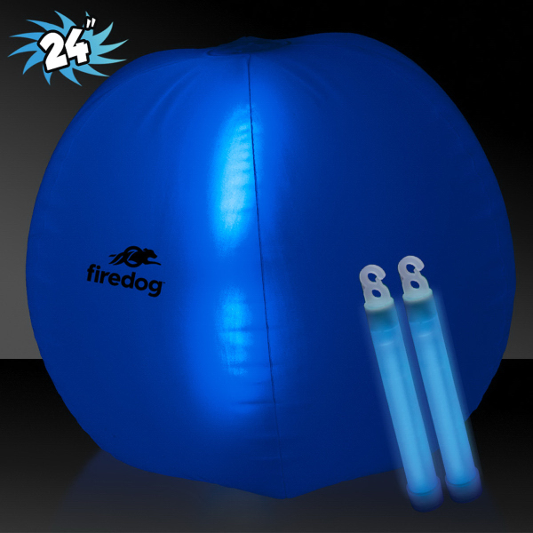 "Translucent Blue 24"" Inflatable Beach Ball with Glow Stick"