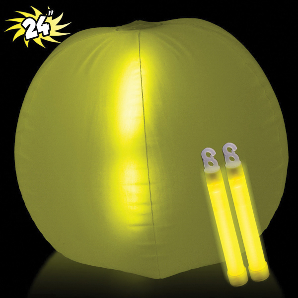 "Translucent Yellow 24"" Inflatable Beach Ball with Glow Stick"