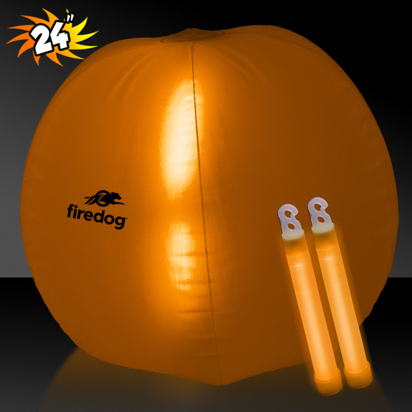 "Translucent Orange 24"" Inflatable Beach Ball with Glow Stick"
