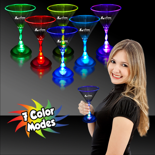 7 1/2 oz. Light Up MultiColor LED Martini Glass