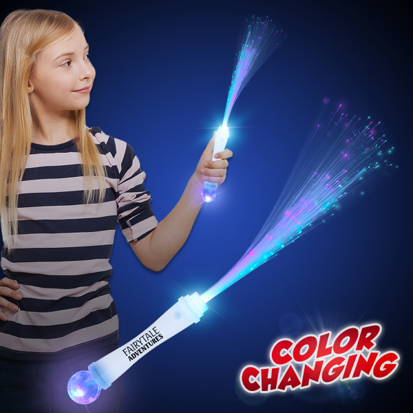"15"" White Fiber Optic Wand with Strobe"