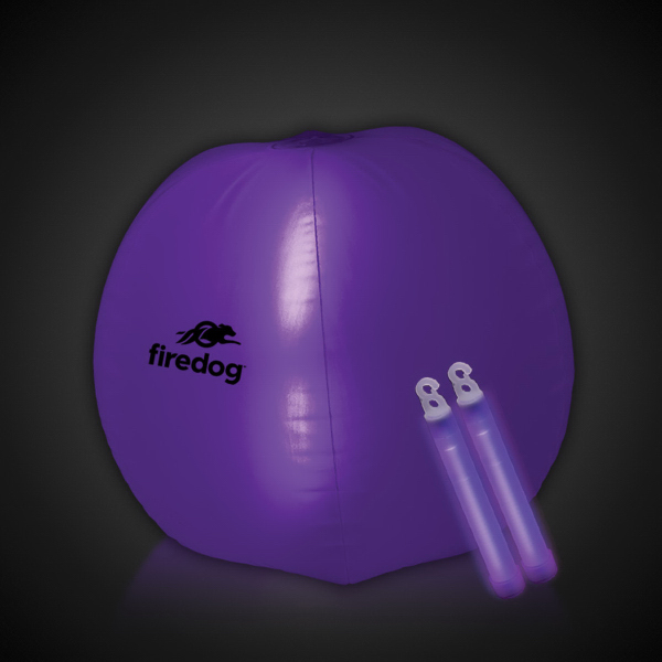 "Translucent Purple 24"" Inflatable Beach Ball with Glow Stick"