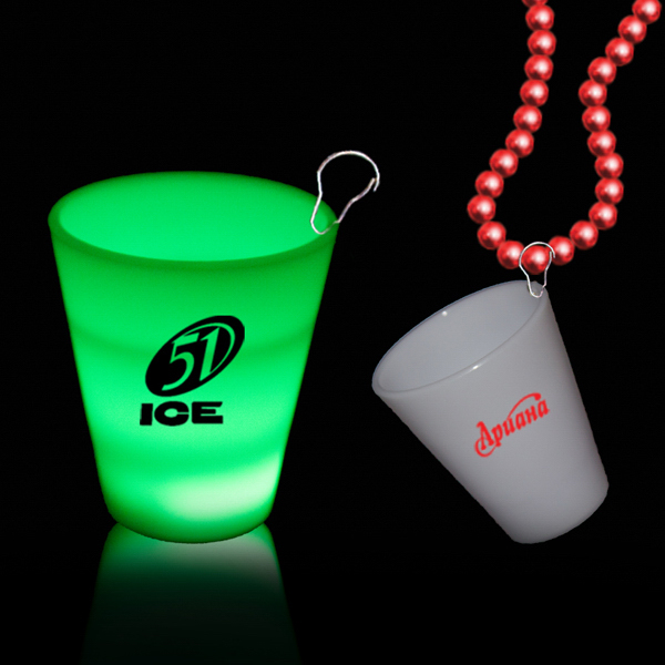 Green 2 oz Neon Look LED Shot Glass with J Hook