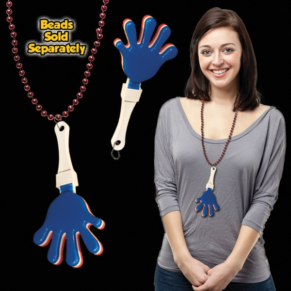 Red, White & Blue hand clapper with attached j-hook medallio