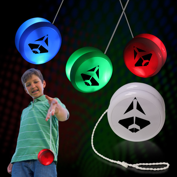 "2"" White Plastic Light Up YoYo with Green LEDs"