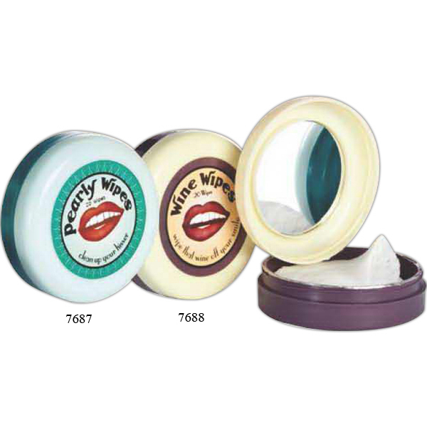 Pearly Wipes, Mirror Compact with 20 Peppermint Wipes