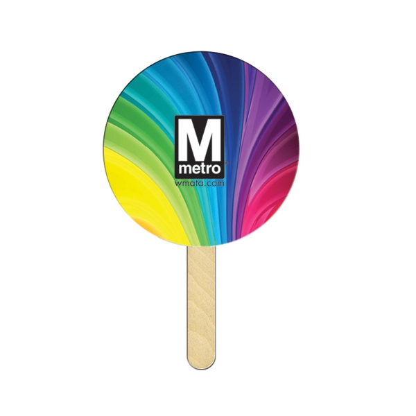 Round Mini Hand Fan Full Color (1 Side)