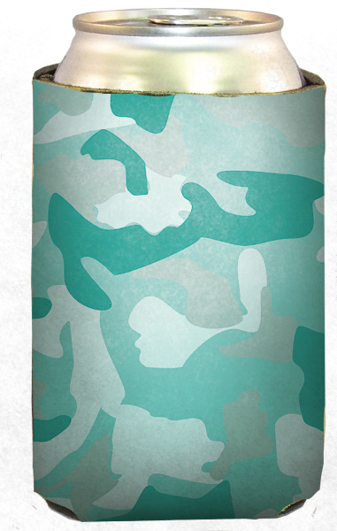 Teal Military Camo Collapsible Beverage Insulator Can Holder